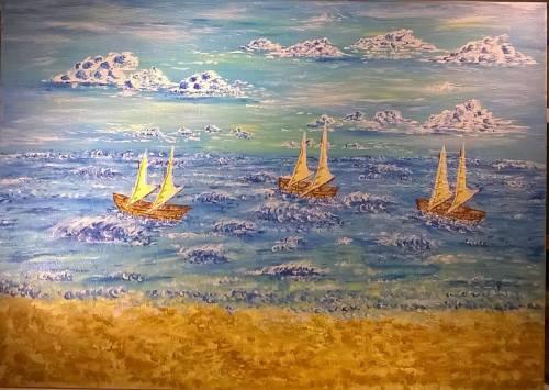 """""""Tre barche su un mare frastagliato """""""